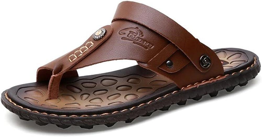 Newbestyle Homme Chaussure /ét/é Sandales Cuir Souple Sandales de Plage Tongs