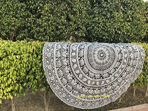 raajsee 75 inch Circle Walking Elephant Round Tapestry Hippie Boho Mandala Beach Towel Blanket Indian Cotton Bohemian Table cloth Decor Yoga Mat Picnic Rugs Beach Cloth