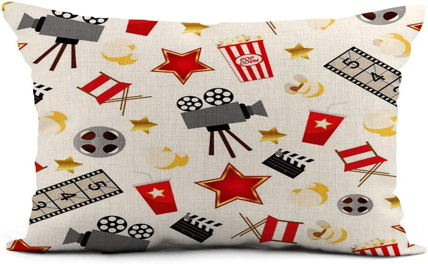 Topyee Throw Pillow Cover 12x20 Inch Hollywood Retro Movies Theatre Theater Popcorn Home Decor Pillowcase Lumbar Pillow Case Cushion Cover for Sofa Couch Bed