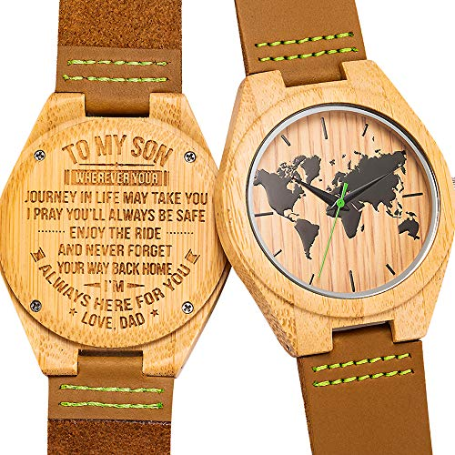 Engraved Bamboo Watches for Son from Dad,Natural Personalized Leather Strap Wooden Groomsmen Watch for Men