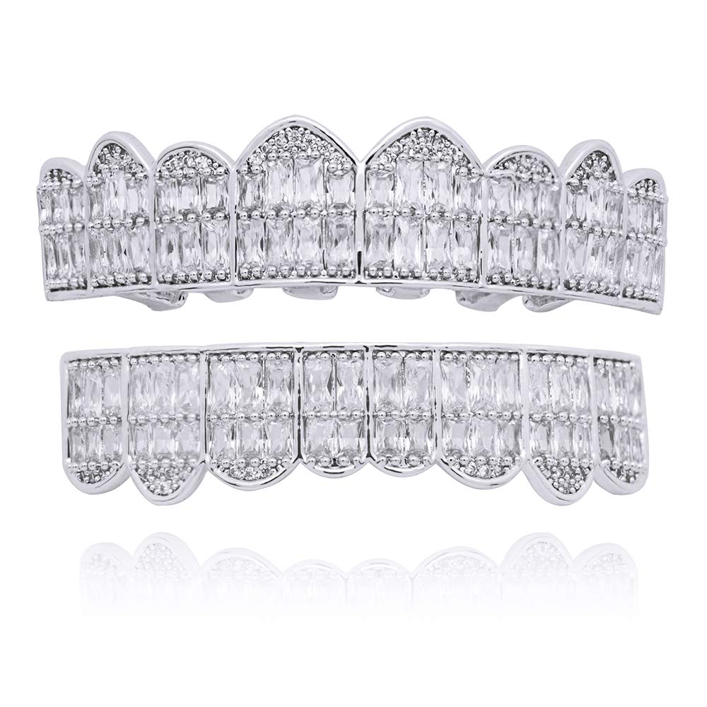 LuReen 18K Gold Silver Plated Grillz Square CZ Teeth Top & Bottom Set Micropave Lab Simulated Diamonds Grillz+ 2 Extra Molding Bars (Silver Set)