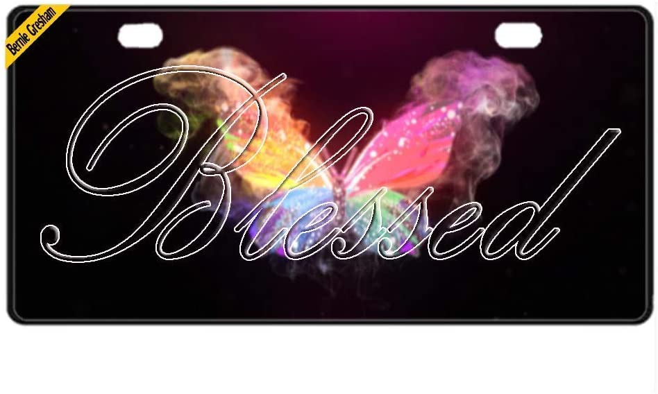 Bernie Gresham License Plate Personal Design Cover with Blessed Car License Plate Auto Tag Metal Plate 6x12 Inch