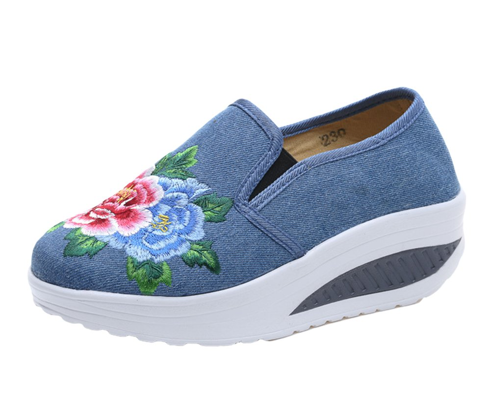 AvaCostume Womens Embroideried Wedge Casual Walking Loafer Shoes, Blue 36
