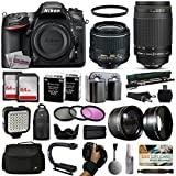 Nikon D7200 DSLR Digital Camera with 18-55mm VR II + Nikon 70-300mm Lens + 128GB Memory + 2 Batteries + Charger + LED Video Light + Backpack + Case + Filters + Auxiliary Lenses + $50 Gift Card + More!
