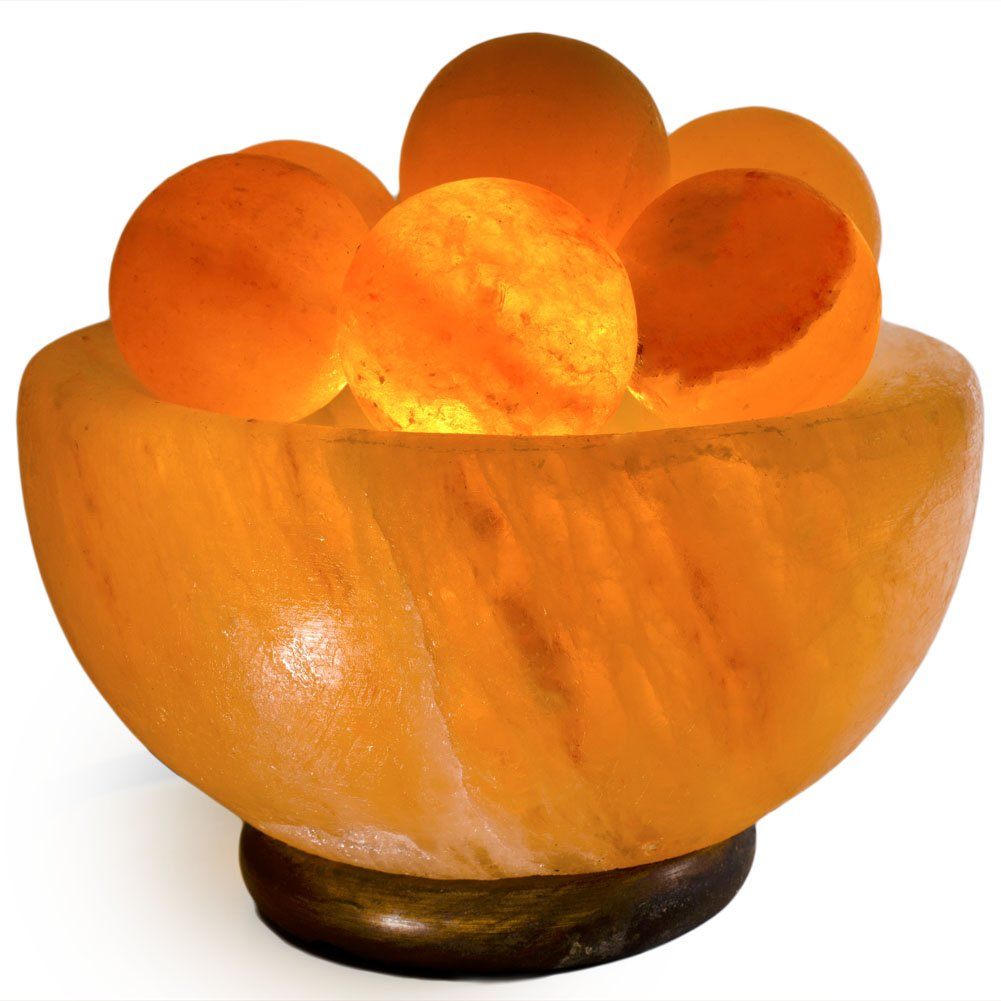 Fantasia Lighting: Top Grade 7'' Carved Fire Bowl Salt Lamp with Salt Balls, Dimmer Cord and Switch, Crafted Wood Base, UL Certified Cord and Bulb - Top Salt for Maximum Ionic Air Purifying Benefits