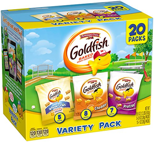 Pepperidge Farm, Goldfish, Crackers, Sweet & Savory, 19.5 oz, Variety Pack, Box, Snack Packs, 20-count