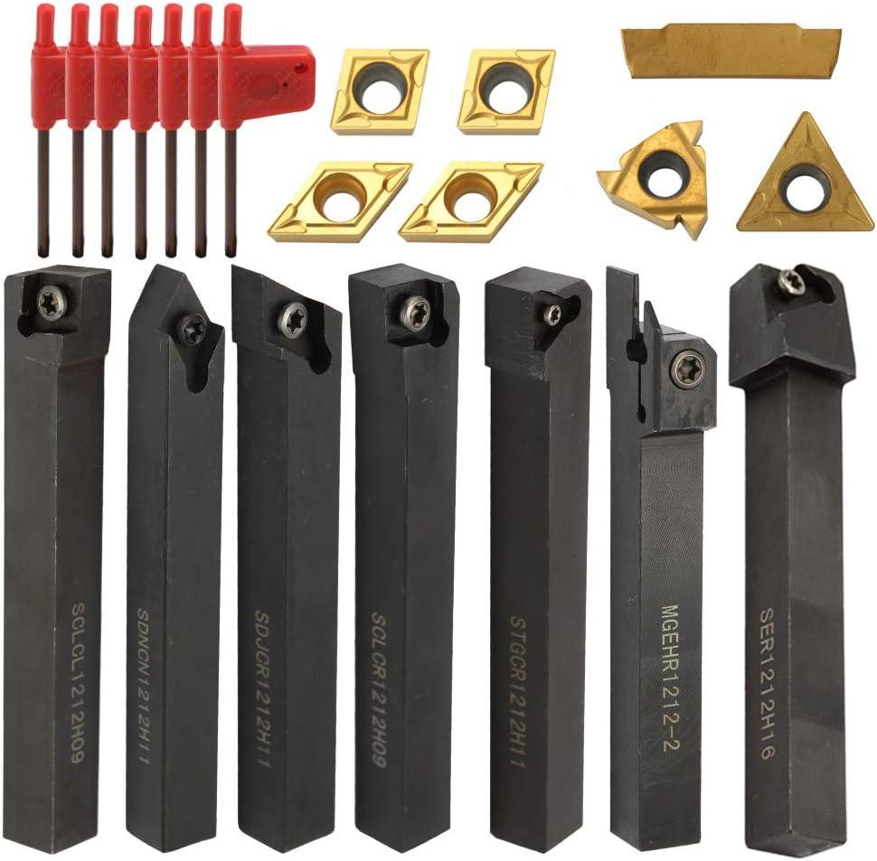 Insertos de metal duro, 21 piezas de insertos multifunción VHM, soporte de barra de perforación con llaves para torno de herramientas