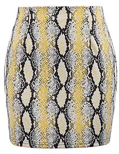 Women Sexy Snake Skin Print High Waist Zippers Pencil Mini Skirt L]()