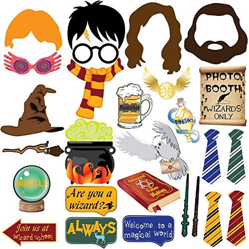 27pc Magical Wizard School Photo Booth Props For Children Birthday Wizard School Party Supplies,Dress Up Novelty Decorations ()