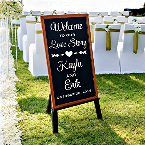 Welcome To Our Love Story Wedding Decal, Personalized Welcome Wedding Vinyl Stickers, DECAL ONLY