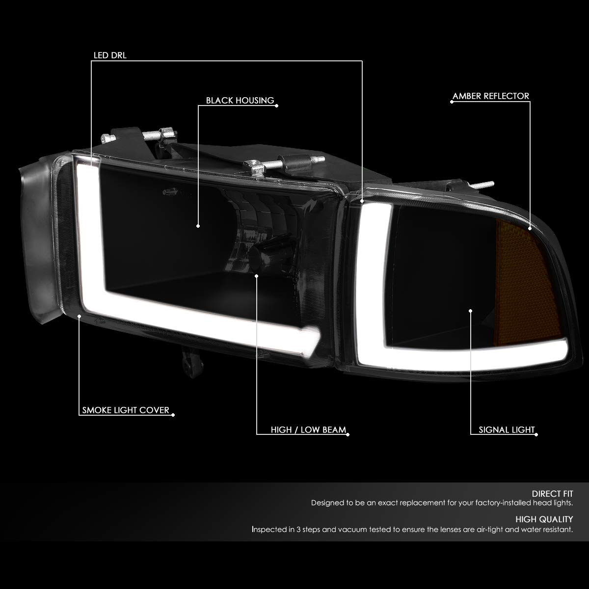 Driver /& Passenger Side DNA Motoring Chrome HL-OH-VW05-CH Headlight Assembly