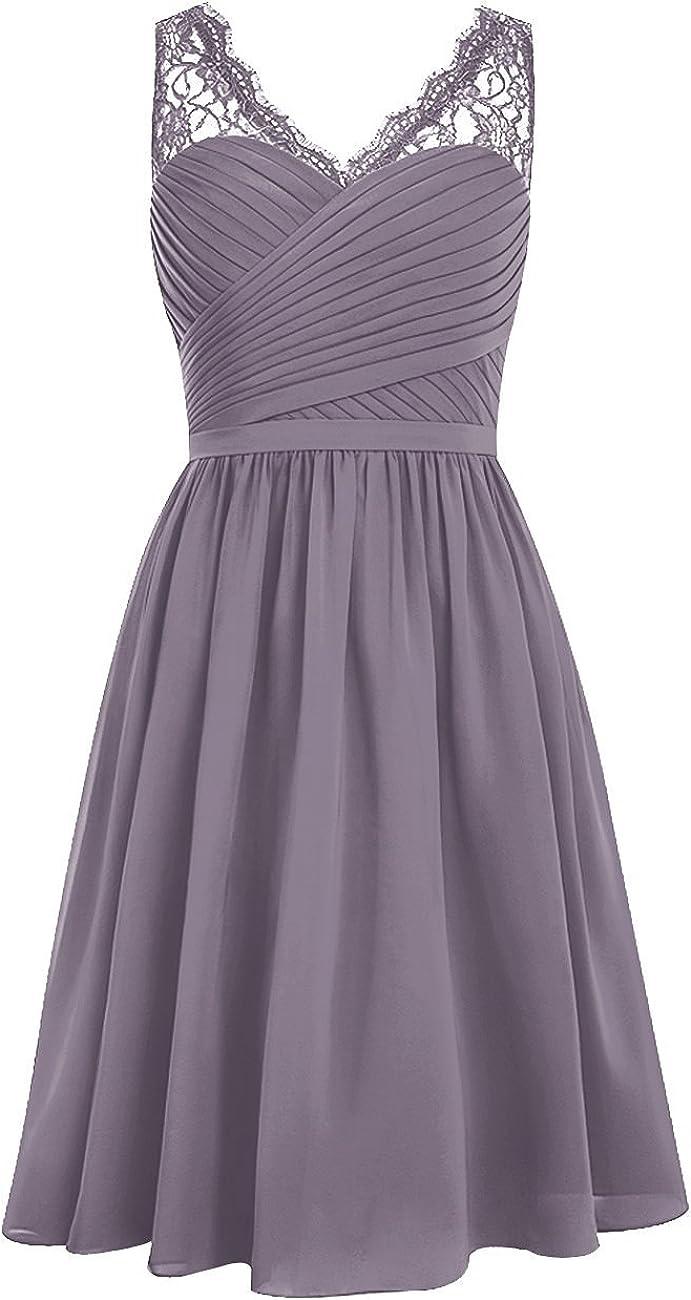 SDRESS Womens Lace Straps Pleated V-Neck Short Chiffon Bridesmaid Dress