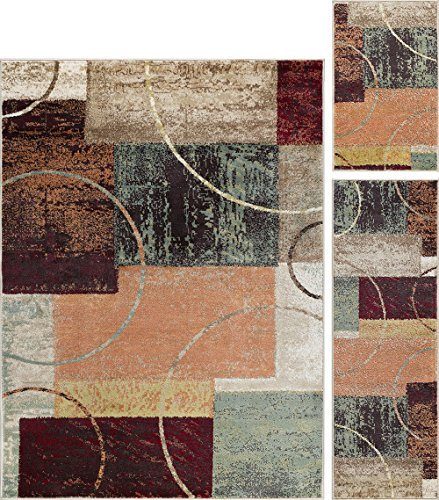 Conner Contemporary Abstract Multi-Color 3-Piece Area Rug Set, 3-Piece Set