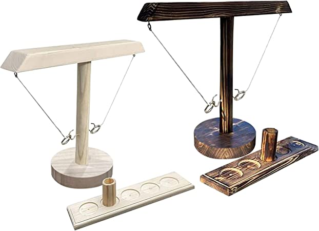 Handgemachte h/ölzerne Ringwurfhaken VVIA Ringwurfspiel Verbesserter Wurf Game-Fun Sports Novelty Toy Brown D-5 Ring Toss Hook und Ring Indoor//Outdoor Game Hook and Shot Ladder Game