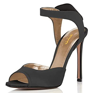 c7a9eb1b1b2 XYD Women Sexy Peep Toe Stiletto High Heel Sandals Slingback Elastic Slip  On Cutout Party Dress