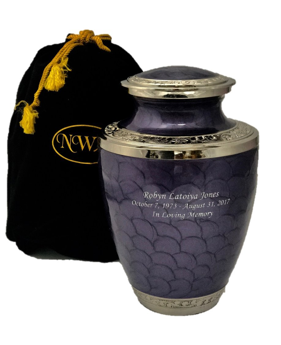 Cremation Urn, Lavender Adult Funeral Cremation Urns With Personalization