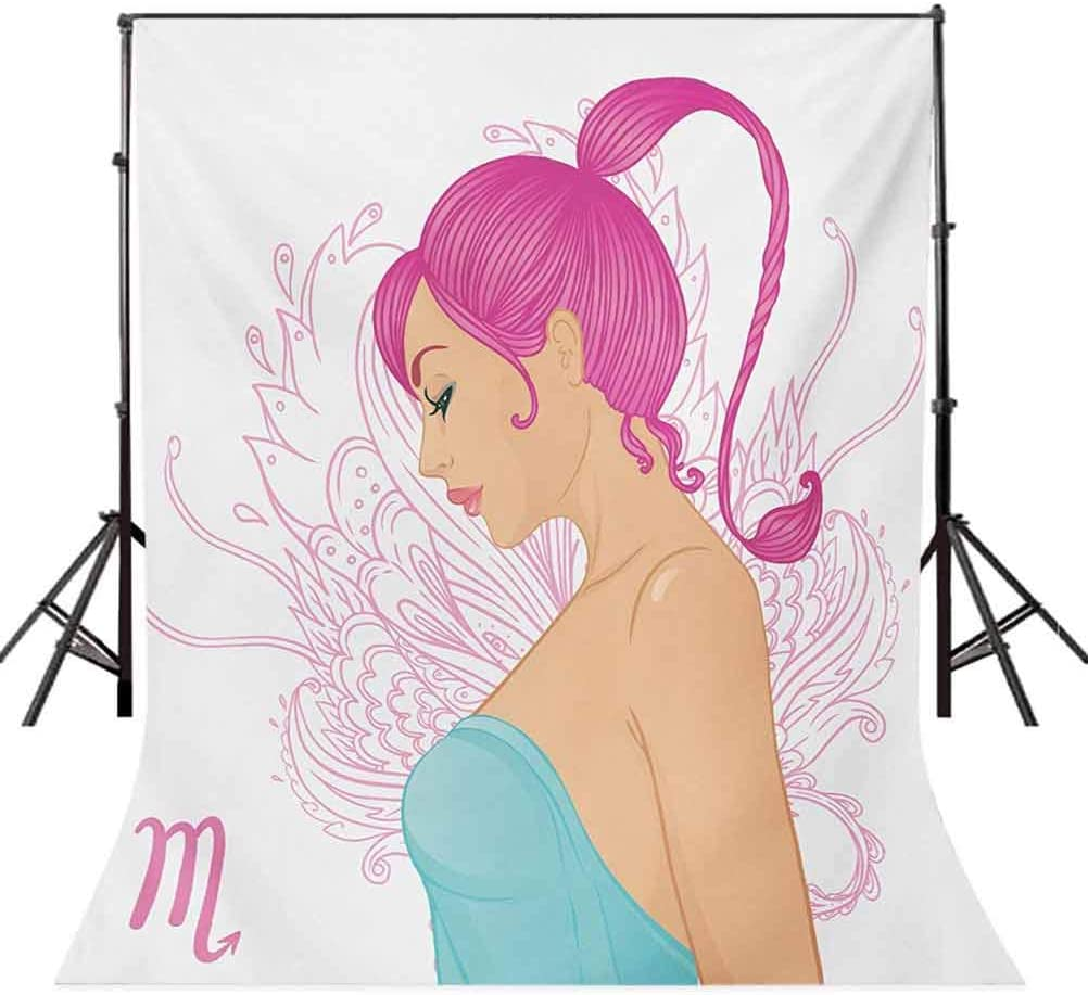 Zodiac Scorpio 10x12 FT Photo Backdrops,Illustration of a Scorpio Sign as a Young Woman in a Blue Dress Background for Party Home Decor Outdoorsy Theme Vinyl Shoot Props Pink Turquoise Beige