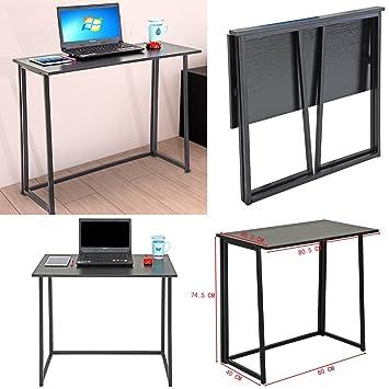 Mesa de Estudio Negra genérica para estación de Trabajo en casa, Escritorio Plegable para Ordenador portátil o Ordenador, Mesa de Escritorio de Oficina: ...