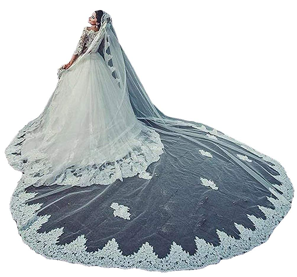 Womens 1T 3M Bridal Veils Lace Trim for Cathedral Wedding Free Comb