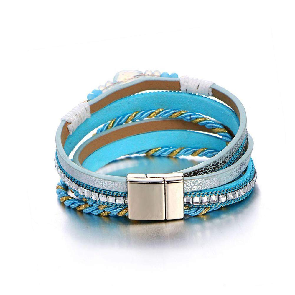 Hobbyant Bohemian Multilayer Crystal Beads Bracelets Braided Rope Chain Bracelet Ethnic Jewelry for Women Blue