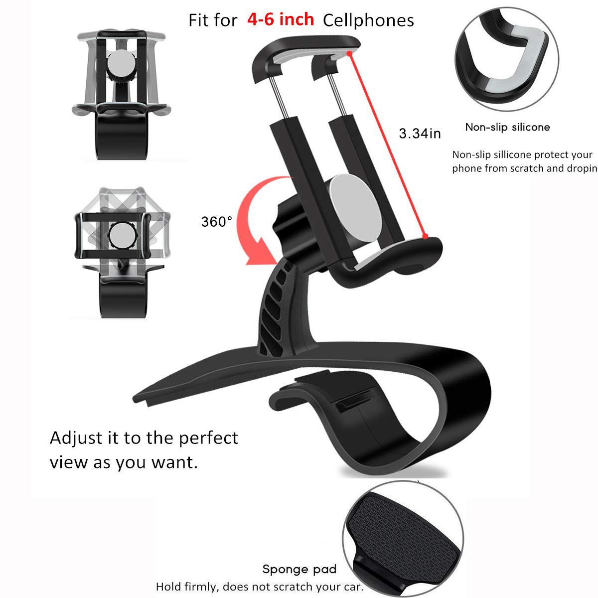 MAOBLOG Car Phone Mount 2 Pack HUD Design Clip and Magnetic Free Combination 2 in 1 Dashboard Air Vent Holder Bracket Stand Cradle for Samsung Galaxy S9 S8 S7 S7 Edge S6 and All Other Phones. Black