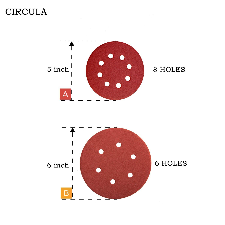 Denveo Dry Sanding Disc 60/80/120/180/240/320 Grit 6 Inch and Sandpaper Assortment, Hook and Loop System Red Paint and Steel Sanding for Random Orbital Sander, Pack of 60 (6 Holes)