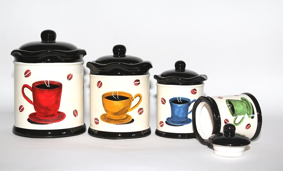 ACK Tuscany Colorful Coffee Bean, Hand Painted Canister Set of 4, 83301