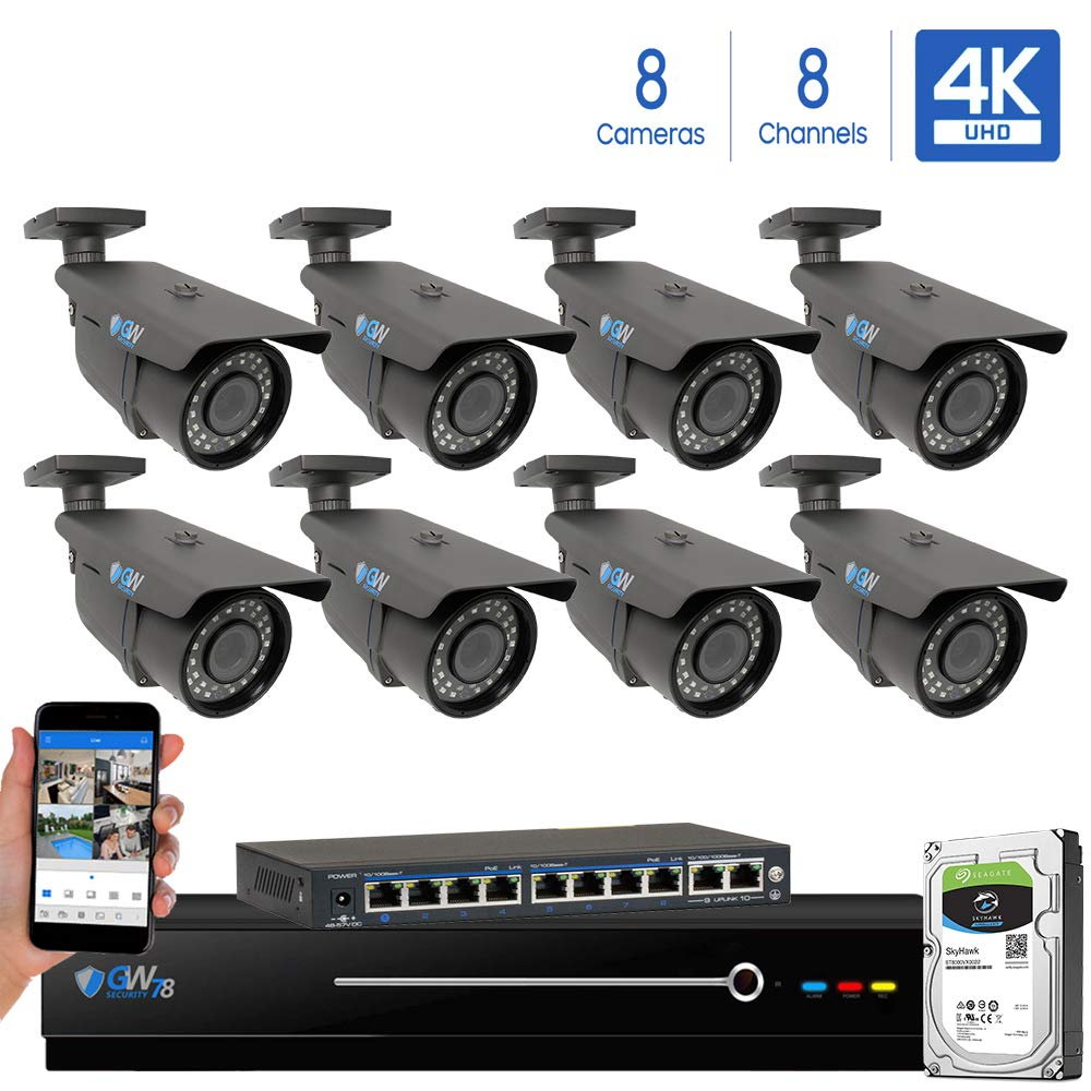 GW 8 Channel 4K NVR 8 Megapixel H.265 Video PoE Security Camera System – Eight 8MP 2160P Weatherproof 2.7-13.5mm Varifocal UltraHD 4K IP Bullet Cameras, 196ft IR Night Vision, Pre-Installed 4TB HDD