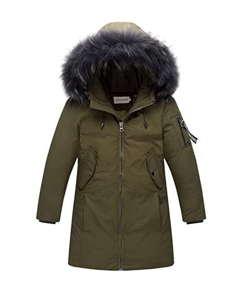 AHATECH Piumino Bambino Invernale Giacca Bambina Antivento Spessore Piumino  Lungo Cappuccio Cappotto Ragazzi Snowsuit per Bambini 90a4c1e8bb9