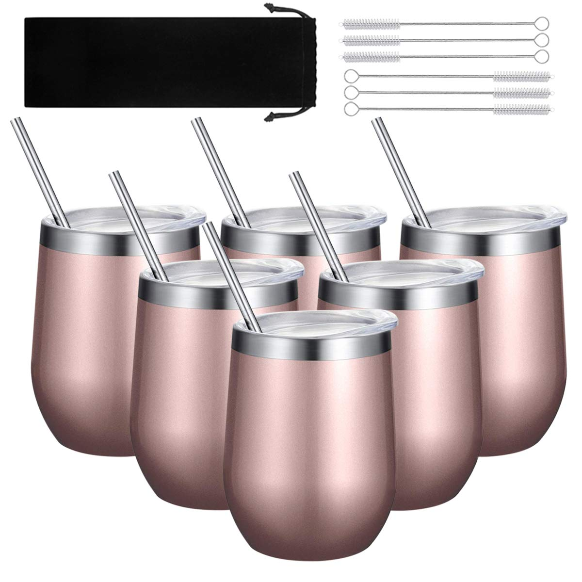 6 Sets Double-insulated Stemless Wine Tumbler Stainless Steel Unbreakable Wine Glass Cup Mug with Lids and Straws for Wine, Coffee, Drinks, Champagne, Cocktails, 12 Oz