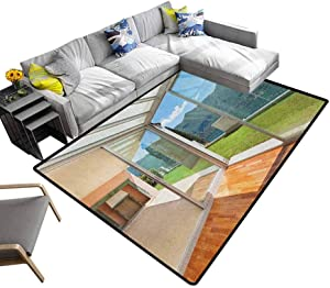 """Landscape Non Slip Carpet Apartment Villa with Patio and Garden Mountain Ocean Sunny Image Rugs Mat for Living Room Bedroom White Forest Green and Blue (5'7""""x8'6"""")"""