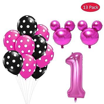 Amycute 13 pcs Globos de Cumpleaños 1 año de Mickey Minnie ...