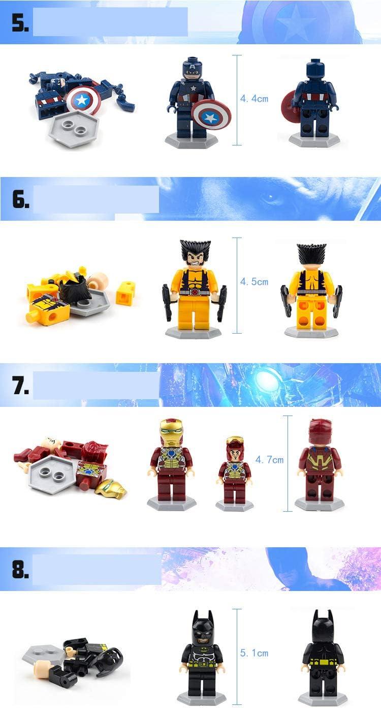 Avengers Mini Figure Toy Sets 2019 Mini Superhero Figure-Iron Man, Thor, Captain America, Spider Man, Wolverine, Hulk, Superman, Batman 8 Set