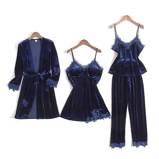Pijama de terciopelo del oro for las mujeres pijamas de invierno 4 ...