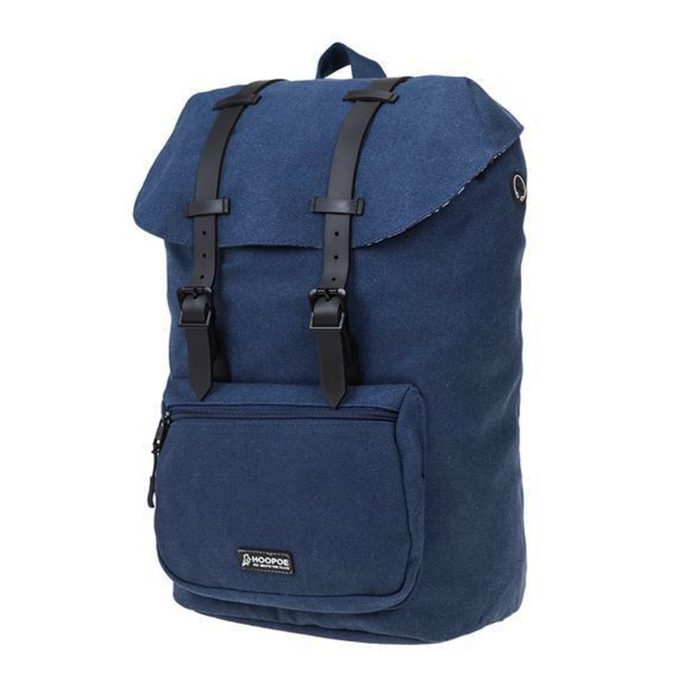 HOOPOE Urban-Ido, Navy Blue 16oz Waxed Canvas Outdoor Backpack with Padded Laptop Compartment & Earbud Hole, External Zip Pocket Water-Resistant, Lightweight, Men's Women's with Padding & Pockets