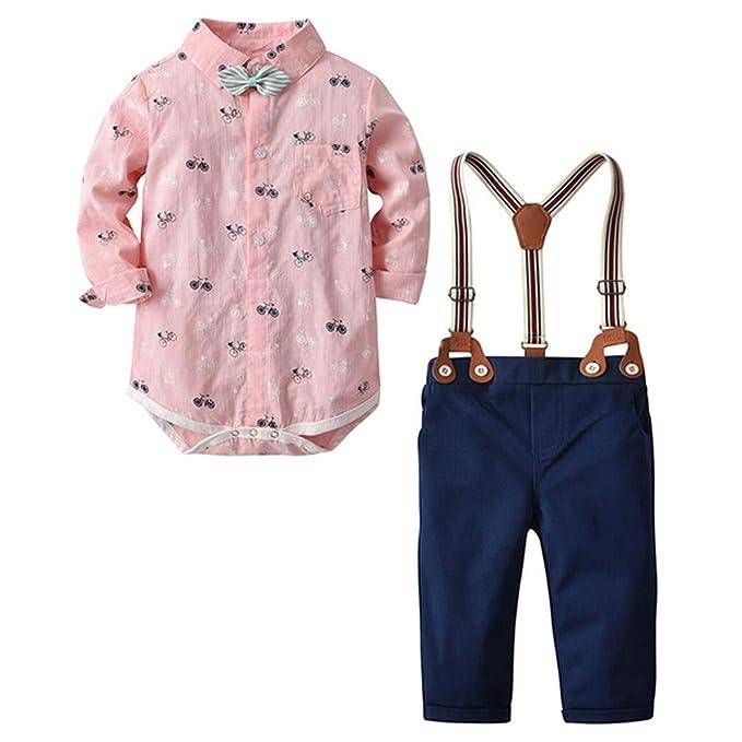 Conjunto de Ropa para Niño, 🍭Btruely Nacido niño pequeño bebé Corbata de Lazo Caballero Bicicleta Camiseta Superior Pantalones de Mameluco Blusas y ...