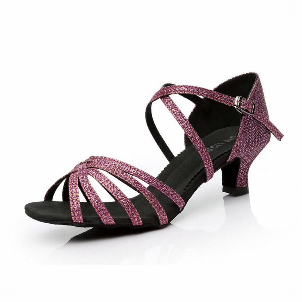 OneCouleur BYLE Sangle de Cheville Sandales en Cuir Chaussures de Danse Modern'Jazz Samba Chaussures de Danse Latine Danse la Danse Sociale Adultes Tissage Chaussures Chaussures de Danse Plancher Souple 5cm 35 EU