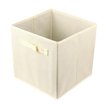 decorative storage boxes fabric cube foldable basket bin beige