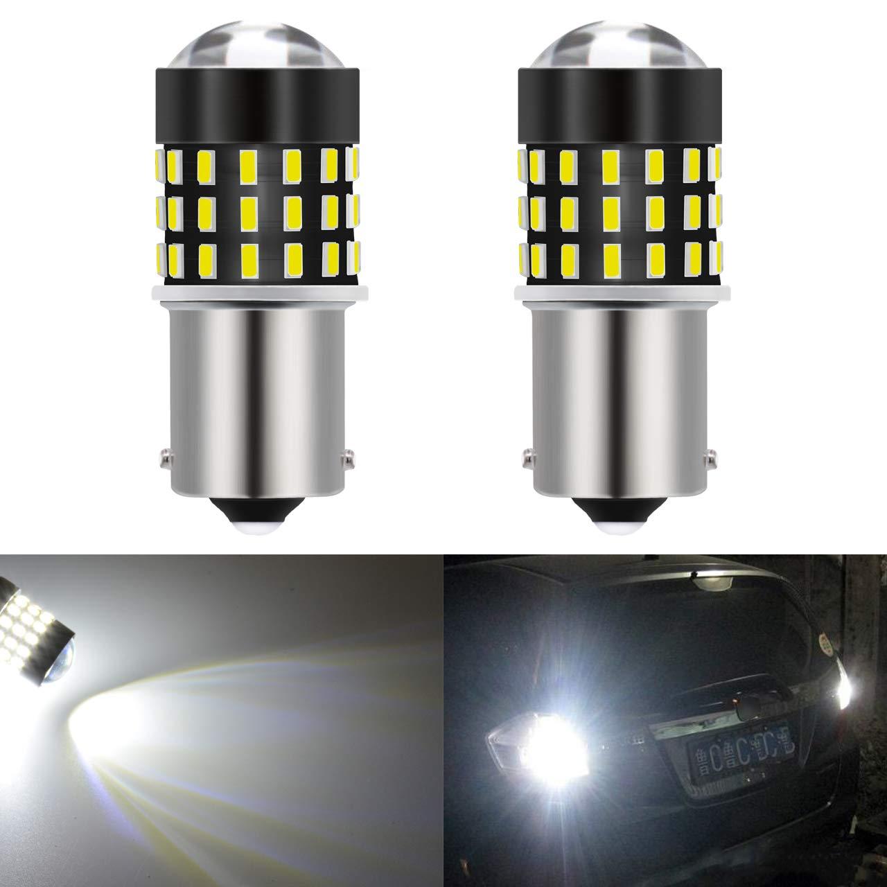 KaTur 2Pcs Super Lumineux 1156BA15S 7506107310951141301454smd Objectif LED Les Ampoules de Rechange Queue de Signal de Frein Arrière à Feux de Stop Parking RV 3.1W DC 12V Blanc
