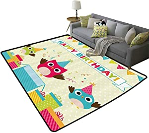 Birthday Decorations for Kids Non-Slip Kids Carpet Baby Nursery Decor Modern Rug 5ft x 8ft Happy Chubby Baby Owls Flags Box on Polka Dots Backdrop Image