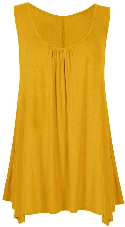 bb6ebd3b34e Women Loose Fit Ruched Hanky Hem Plain Jersey Tunic Blouse Sleeveless Flared  Vest Swing Top Plus Sizes 8-26 UK  Amazon.co.uk  Clothing