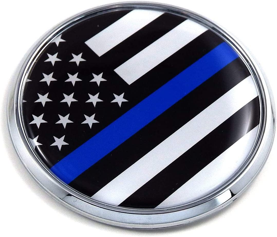 2pcs Thin Blue Line American Flag 3D Badge emblems Magnet Decal in Support of Police For Car Styling Fender Trunk Lid Badge Sticker Blue
