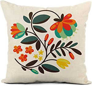 rouihot Linen Throw Pillow Cover Polish Round Floral Pattern Folk Ornamental Flower Desing Hungarian Home Decor Pillowcase 16x16 Inch Cushion Cover for Sofa Couch Bed and Car