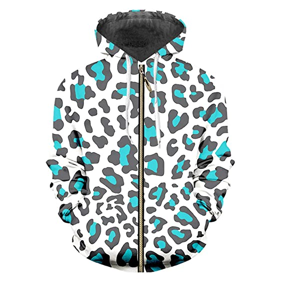 Zipper Loose 3D Pullover Impresión Blue Leopard Hip Hop Sudadera ...