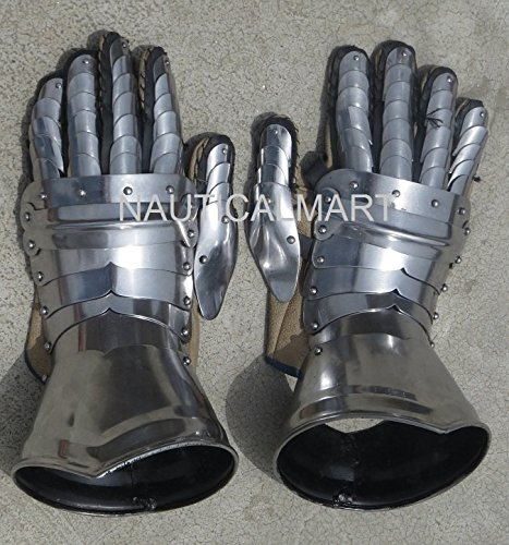 GOTHIC STYLE FUNCTIONAL MEDIEVAL PAIR OF STEEL ARMOR GLOVES by NAUTICALMART