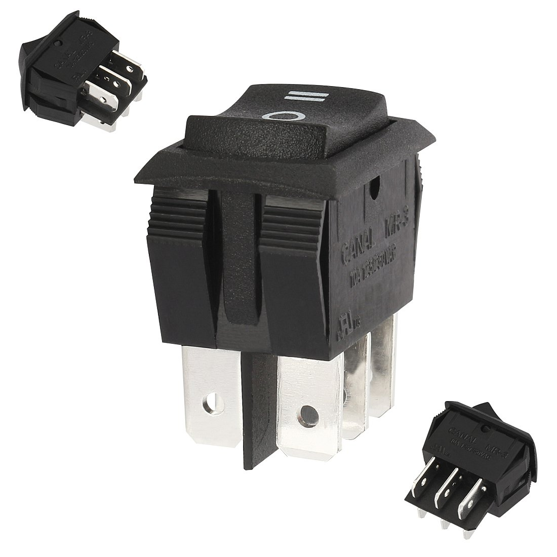 Aexit UL Listed Electrical AC 125V 250V/10A DPDT 6 Terminal 3 Position On-Off-On Boat Rocker Switches Switch Black