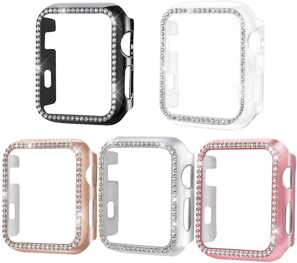 [5-Pack] Henstar Compatible with Apple Watch Series 3/2/1 38mm Bling HD Tempered Glass Screen Protector Full Coverage Protective Cover for iwatch (Black/Pink/Rose Gold/Silver/Clear)