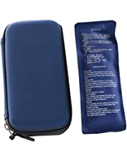 Denshine Insulin Cooler Bag Portable Insulated Bag Insulin Travel Case Cooler Box Ice Bag with 2 Ice-Blue