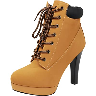 Cambridge Select Women's 90s Padded Collar Work Lace-Up Tapered High Heel Ankle Bootie | Shoes