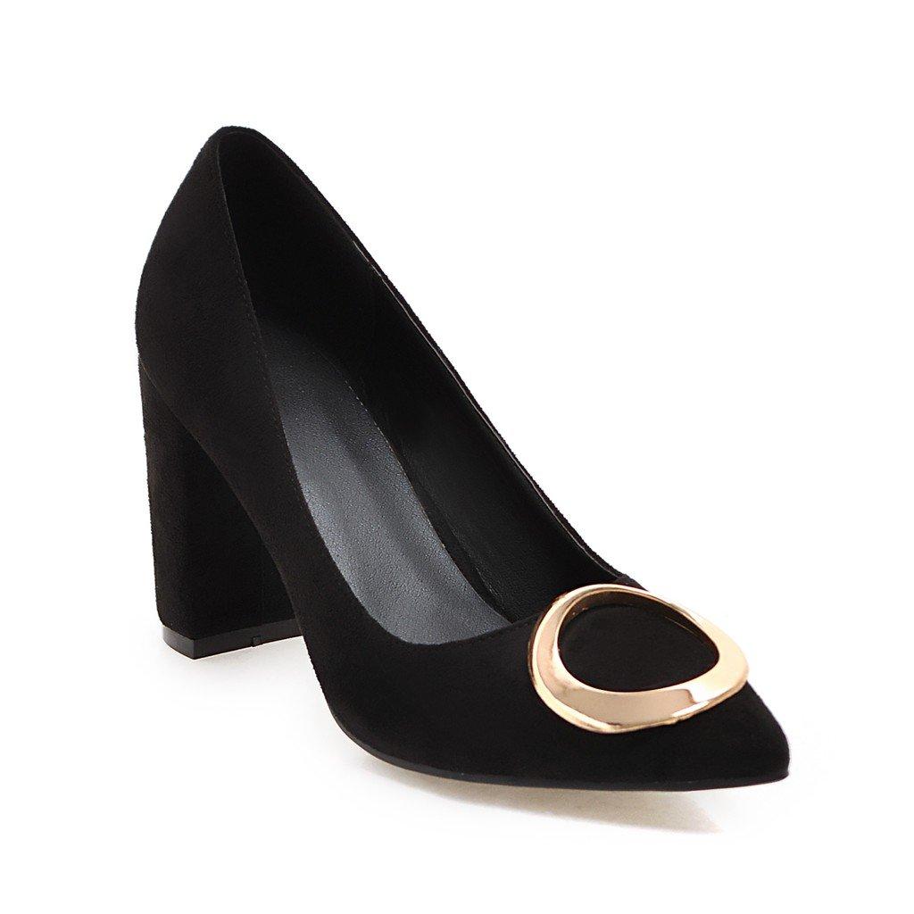 sale retailer 7bed9 96701 AIWEIYi Women Pumps Metal Charm Square High Heels Pointed Pointed Pointed  toe Platform Dress Shoes B01NALTJ64 US 7.0 CN 37 Feet 23.5cm Black 5406e7